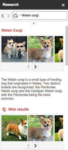 Research result on Welsch Corgis in a Google Doc
