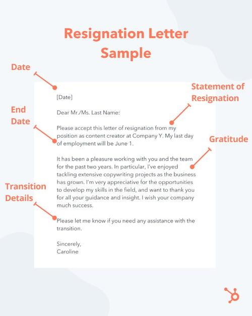 short resignation letter sample