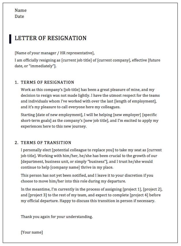 Resignation letter template for executives and senior leaders