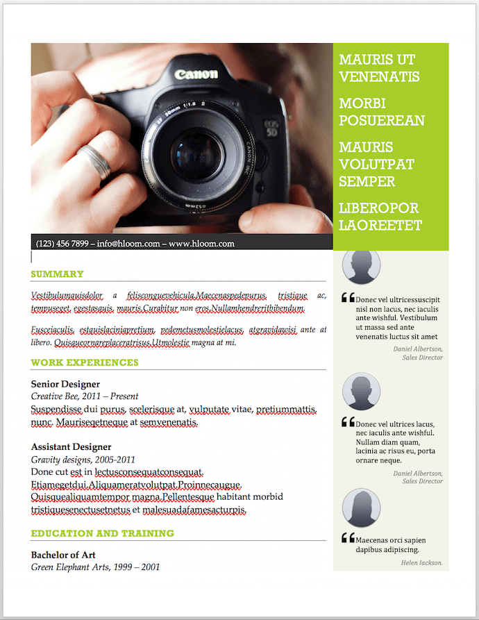 Photographer's resume template for MS Word with space for recommendations and endorsements
