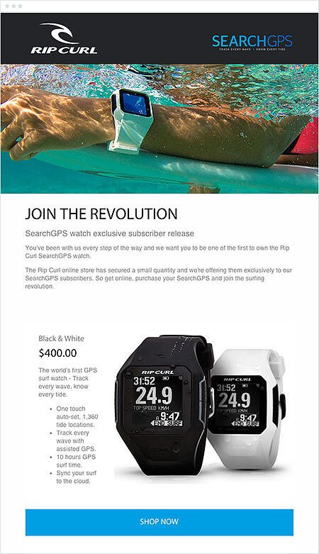 """Email Marketing Campaign Example: Ripcurl - """"Join the revolution"""""""