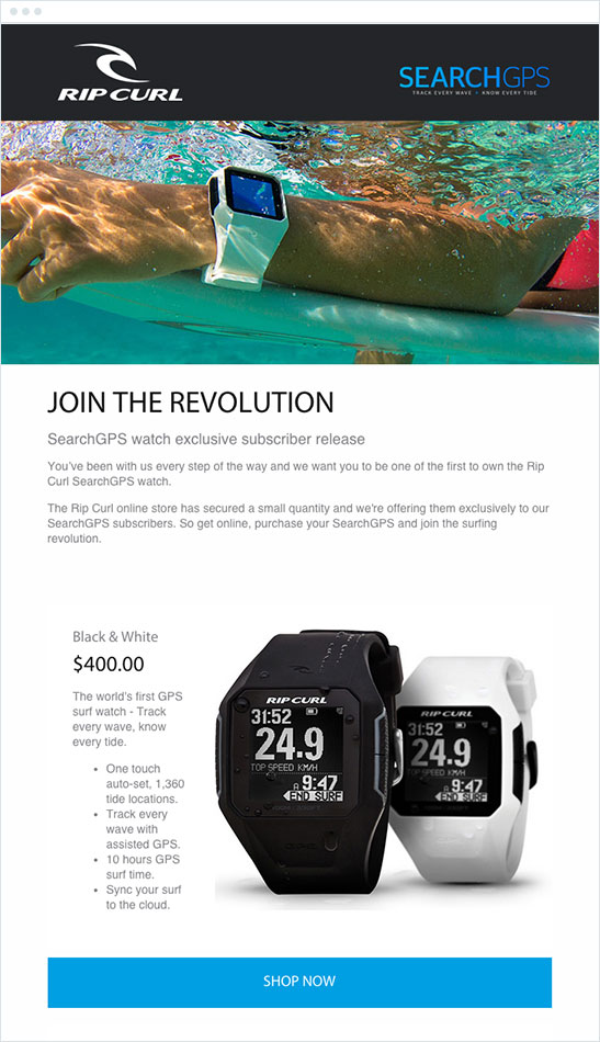 "ripcurl email that reads ""join the revolution - searchgps watch exclusive subscriber release"" underneath a banner of a watch under water"