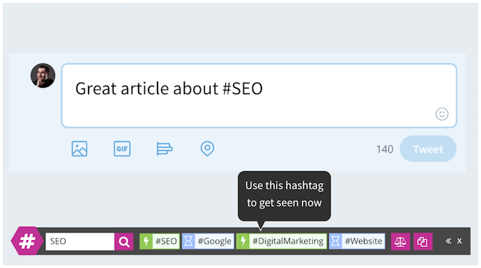 Tweet toolbar with hashtag suggestions by RiteTag