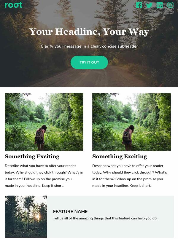 root by hubspot email newsletter template