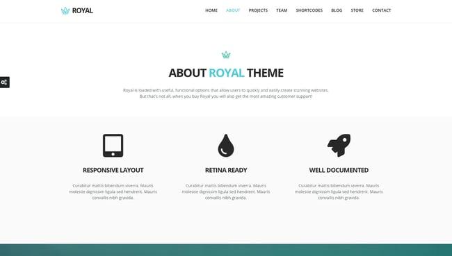 One-page WordPress theme demo for Royal