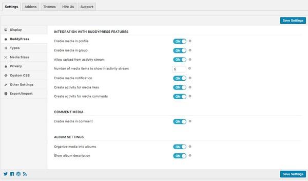 buddypress integration options page in rtmedia plugin