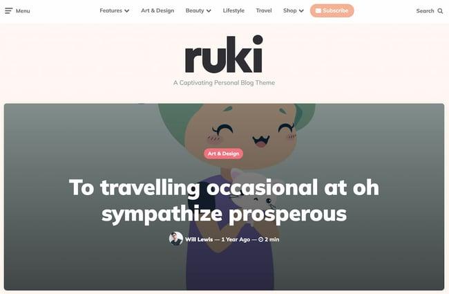 Best viral WordPress themes: Ruki