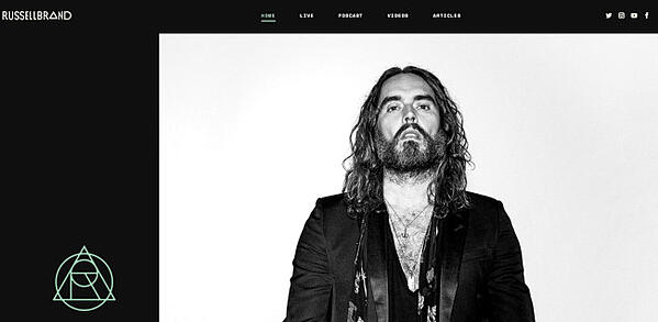 russell brand website - avada theme example
