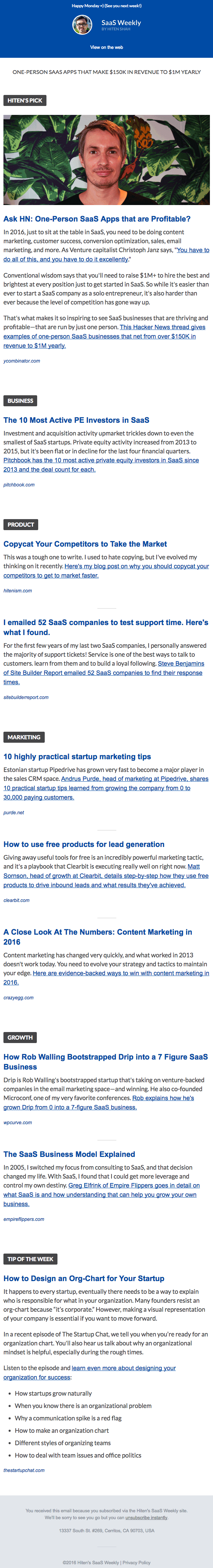Email newsletter example design with articles by SaaS Weekly