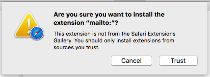 Warning screen by Mac computer asking to Trust file downloaded from the internet