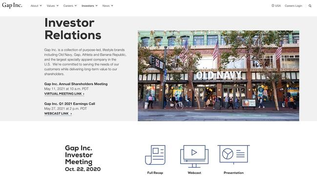 Example sales pitch by retail investor Gap Inc on its website