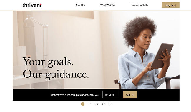 Example sales pitch by baking company Thrivent Financial on its website