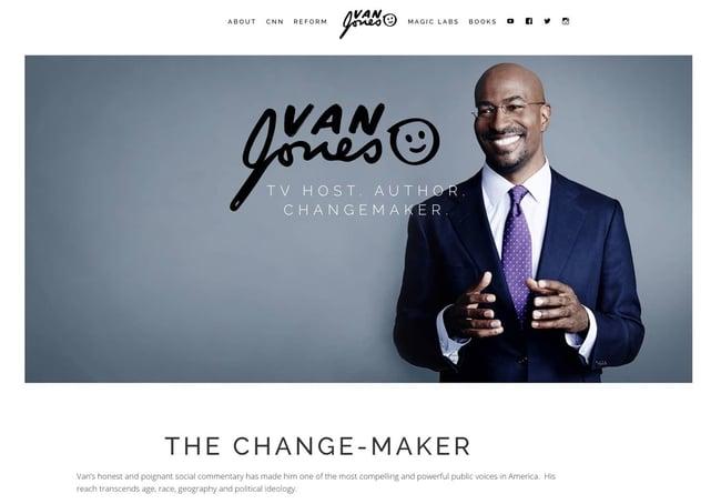 Example sales pitch by professional speaker Van Jones on his website