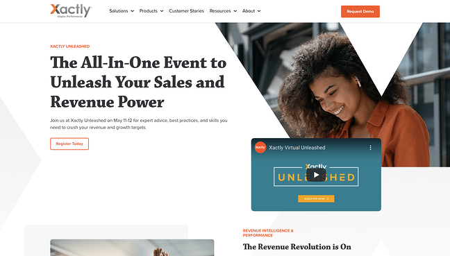 Example product pitch by sales business Xactly on its website