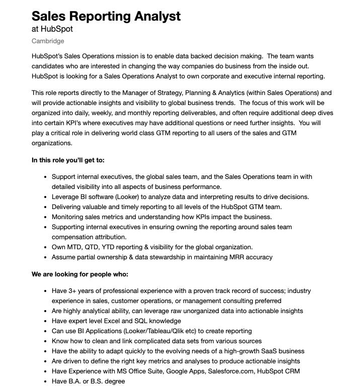 senior reporting analyst job description