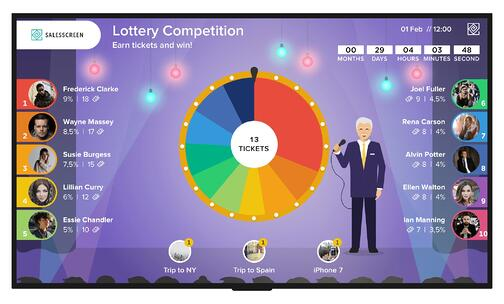 spinning lottery wheel game demo screen from spinify