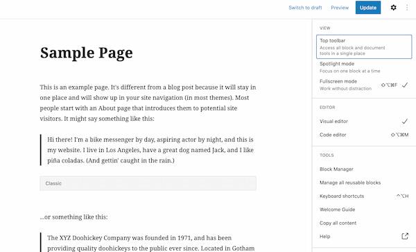 WordPress visual editor in Gutenberg