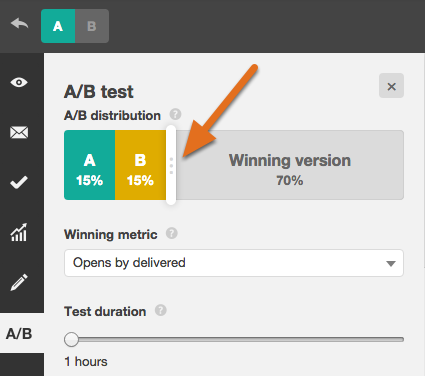 a/b testing sample size slider