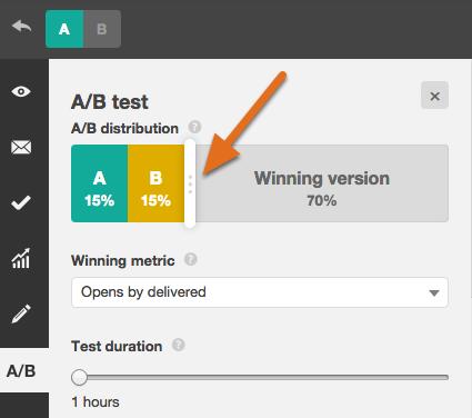 a/b testing sample size slider