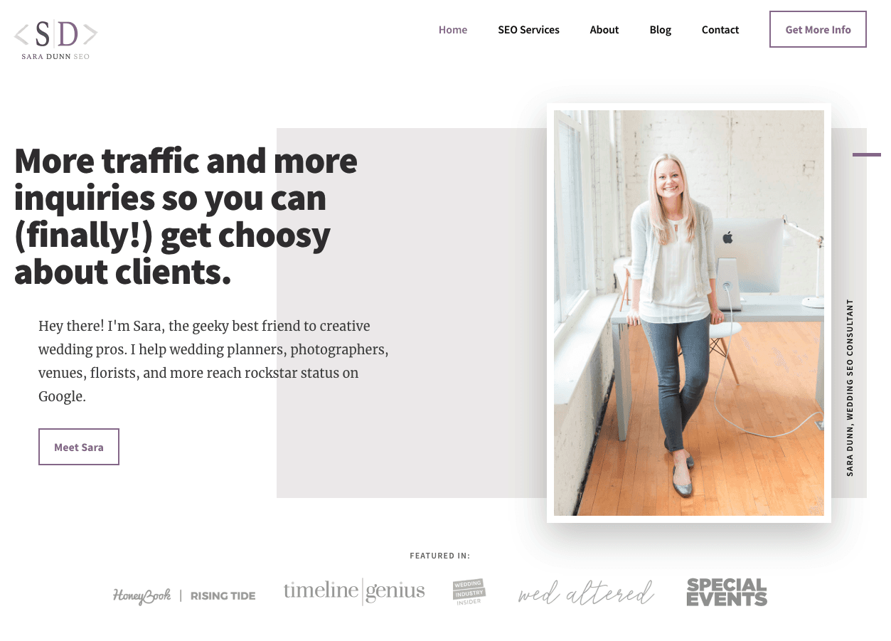 Website of Sara Does SEO, using white space to improve the user experience