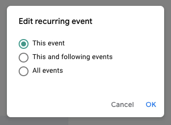 Edit Recurring Event to Save Only This Event