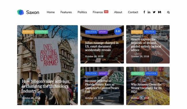Best viral WordPress themes: Saxon