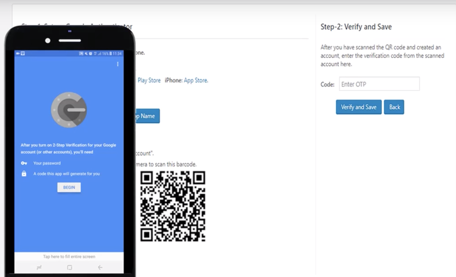 scan QR code how to add two factor authentication in WordPress