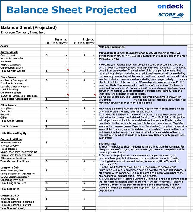 Balance sheet template by Score.org