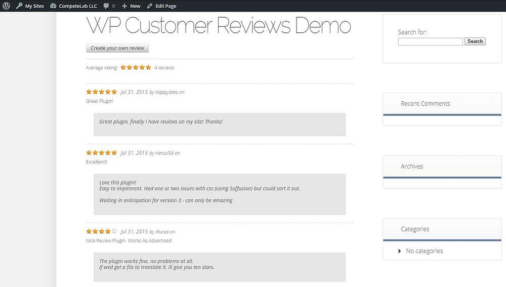 WP Customer Reviews demo shows page of star ratings with comments
