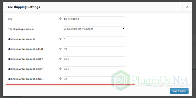 Free shipping minimums set in different currencies in WooCommerce Currency Switcher dashboard