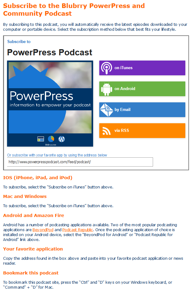 Subscribe buttons embedded via PowerPress Podcasting plugin by Blubrry