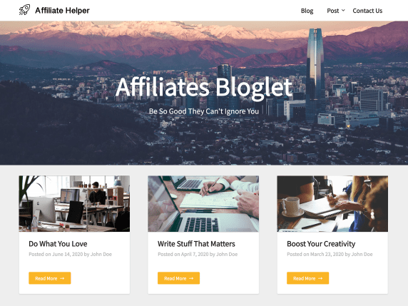 Affiliates Bloglet theme demo featuring three blog posts with affiliate links