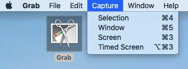 Dropdown menu of screenshot options using the Grab application