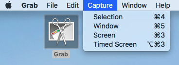 Dropdown menu of screenshot options using the Grab application
