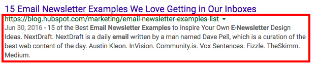 Google result link with extended meta description