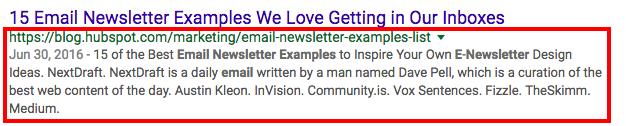 Google result link with extended meta description