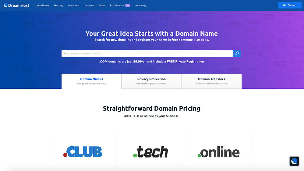 search page for the domain registrar Dreamhost
