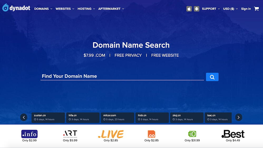 search page for the domain registrar Dynadot