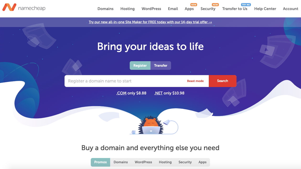 search page for the domain registrar namecheap-1