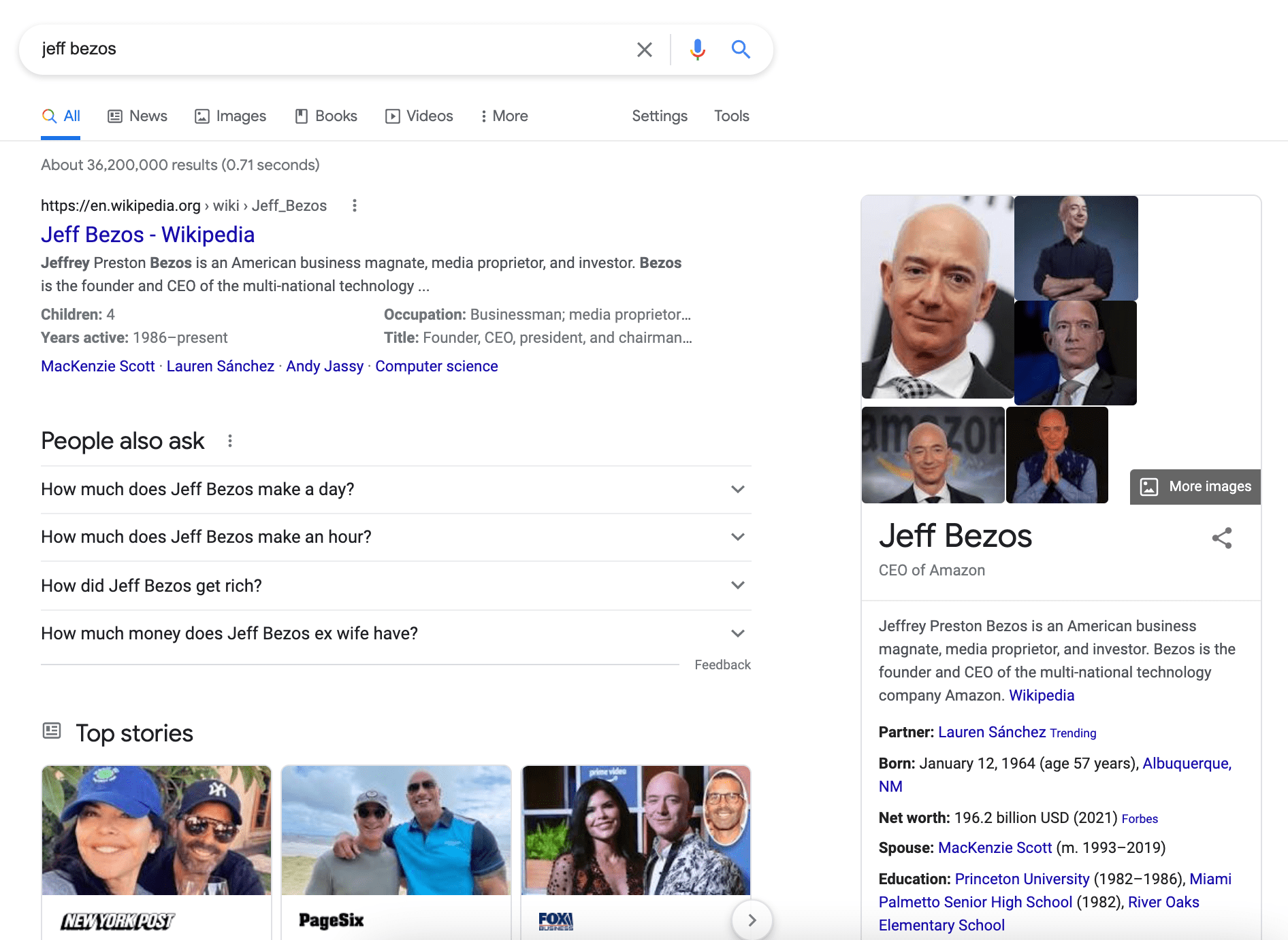 search results for the search term jeff bezos as an example of semantic search