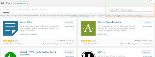 search plugins feature in wordpress