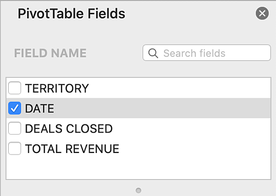 pivottable fields box select date option demo