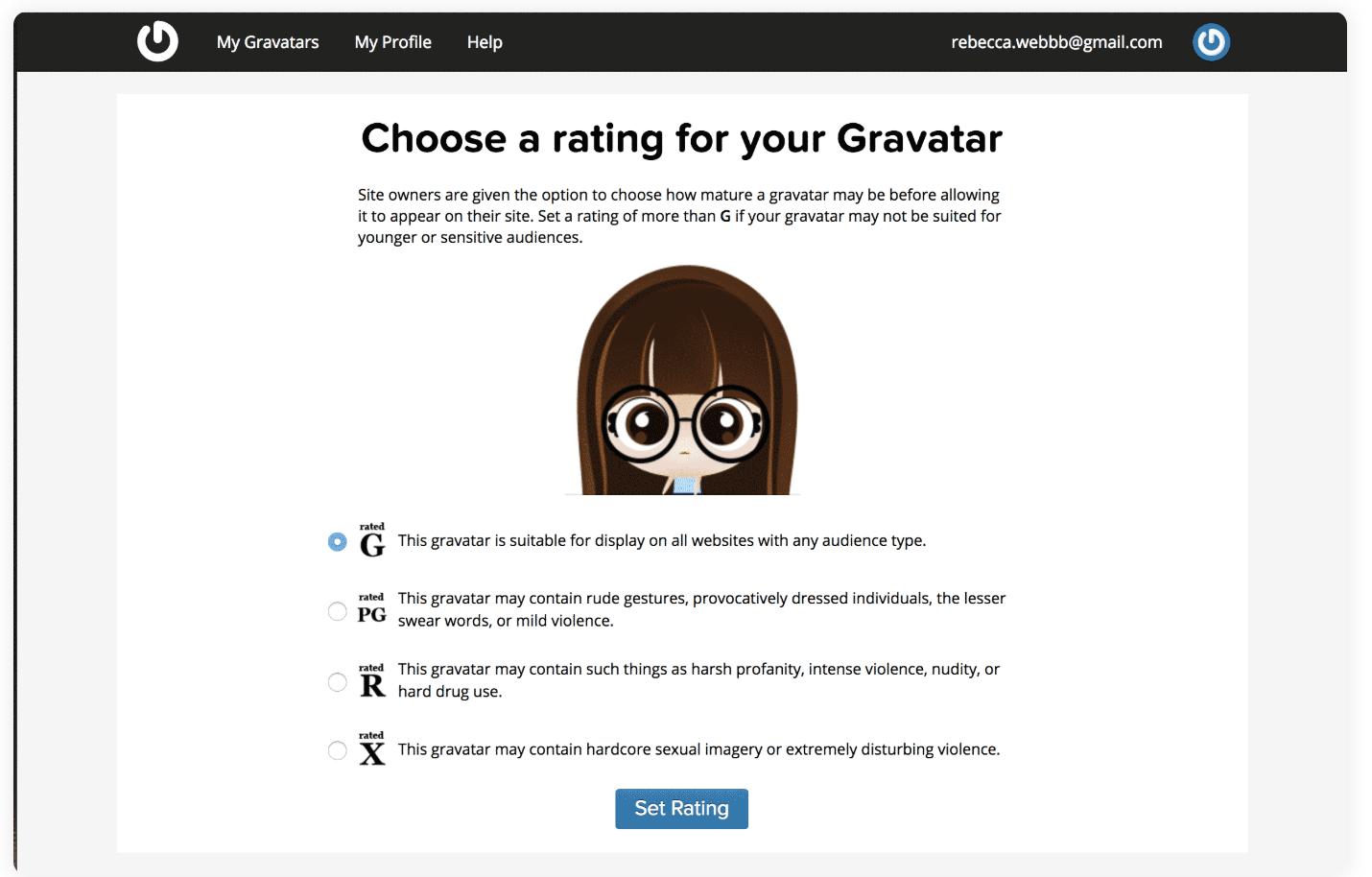 select rating in gravatar use wordpress