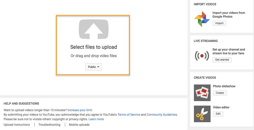 El mensaje de la página del creador de YouTube para seleccionar archivos para cargar