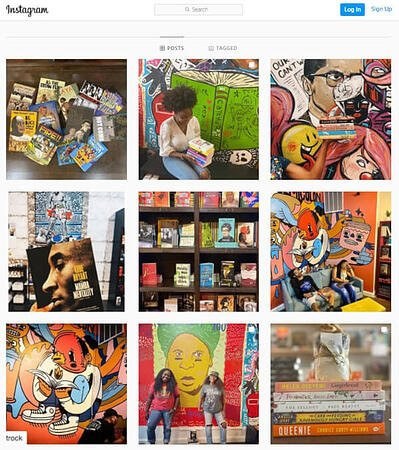 manifestation of brand identity on semicolon books's instagram page: chicago settings, books, and readers enjoying it all