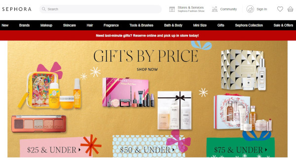 Sephora vacation homepage