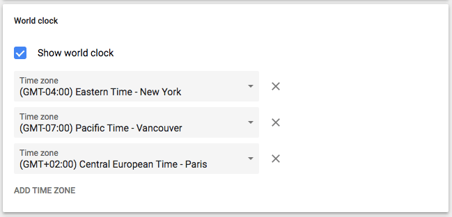 World clock setting in Google Calendar with three time zones listed