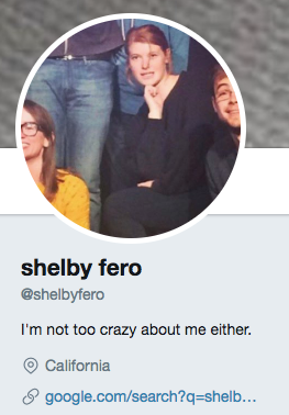 funny twitter bio from @shelbyfero