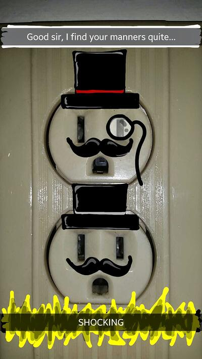 "Funny Snapchat drawing of electrical outlets with hats and mustaches with the caption ""Shocking"""