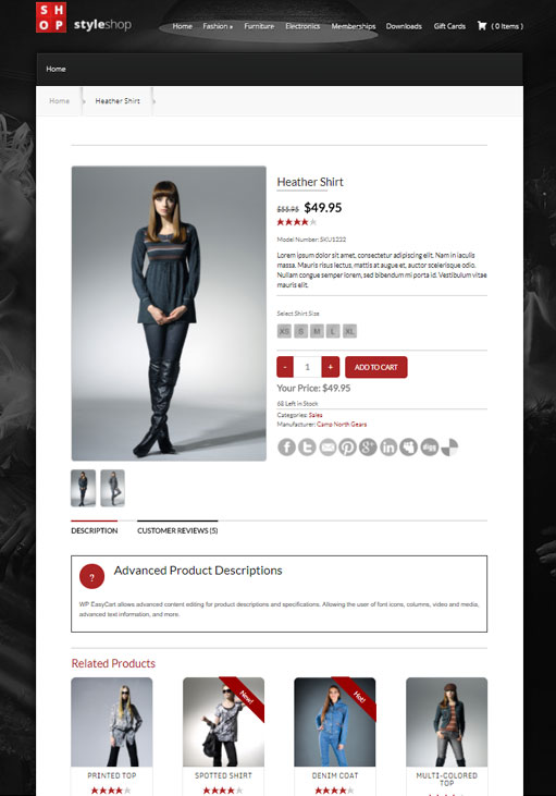 demo product page for online wordpress store